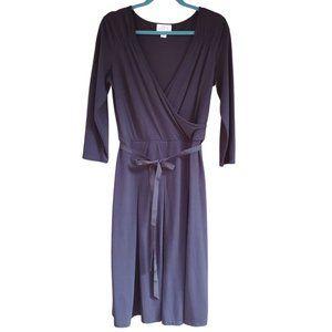 LOFT Navy Blue Soft Knit V neck Wrap Dress Sz 8